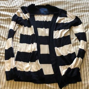 White blue striped cardigan